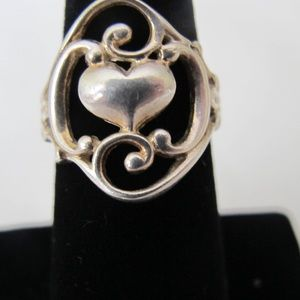 Sterling silver center heart ring
